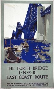 Scottish Railway Travel Poster, The Forth Bridge, East Coast Route, Scotland by LNER